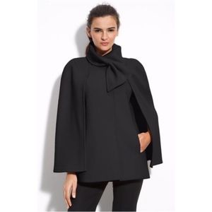 Black Wool Blend Belle Scarf Detail Cape Coat, S
